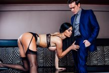 Sexually excited Jasmine works her magnificent bod for Ryan's pulsing pecker