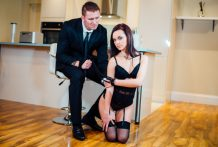 Cool dark brown Lea Guerlin has exotic hookup with her concupiscent guy.