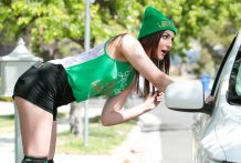 Pepper XO celebrates St. Patrick's Day by deepthroating & penetrating.