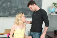 Lascivious Chloe Couture disciplined in labia smashing by James Deen