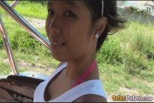 Black-skinned Filipina chick Trixie picked up by foreigner driving Trike himself